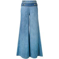 Pierre Balmain buttoned waist palazzo pants ($527) via Polyvore featuring pants, blue, palazzo trousers, blue palazzo pants, pierre balmain, palazzo pants and blue trousers