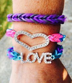 Rainbow loom fishtail bracelets with charm