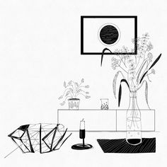 Interior composition #interior #design #styling #residential #home #lifestyle #living #illustration #illustrationartists #interiordesigner #objects #style #blackandwhite #linedrawing (at Amsterdam, Netherlands)
