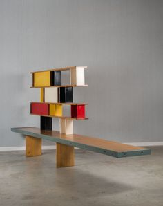 Charlotte Perriand; Enameled Aluminum and Pine Bookcase by Ateliers Jean Prouvé for Tunisia House at Cité Universitaire, 1952.