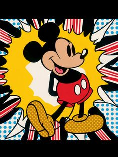 Pop Art Mickey Mouse, Andy Warhol, 1972. Make this for cam's mom? practice on a fallout based one beforehand?