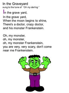 Halloween song for kids, including printable song sheet - In the Graveyard. Halloween Music, Theme Halloween, Halloween Activities, Halloween Songs Preschool, Halloween Songs For Preschoolers, Halloween Poems For Kids, Halloween Nursery Rhymes, Halloween Crafts, Halloween Week