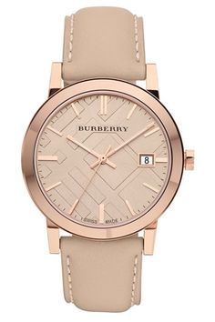 Todays Coveted Working Look: Burberry Check Stamped Round Dial Watch