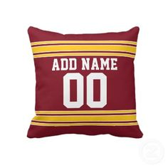 Football Team Jersey with Custom Name Number Pillows by MyRazzleDazzle. Burgundy and Yellow Throw Pillows Football Rooms, Football Team, Yellow Throw Pillows, Cool Fathers Day Gifts, Love You Dad, Pillow Fight, Super Sport, Best Dad, Custom Pillows