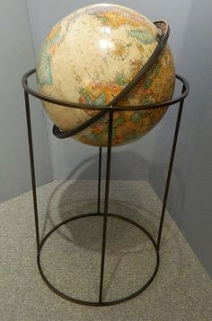 Iron and Wood Globe Contemporary Furniture, Cool Furniture, Paul Mccobb, Vintage Globe, Ludwig Mies Van Der Rohe, Map Globe, Mid Century Furniture, Mid-century Modern, Sweet Home