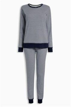 Navy Stripe Print Cotton Pyjamas (Womens)