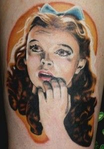 Portrait Tattoos are amazing, I love this Dorothy one from the Wizard of Oz.