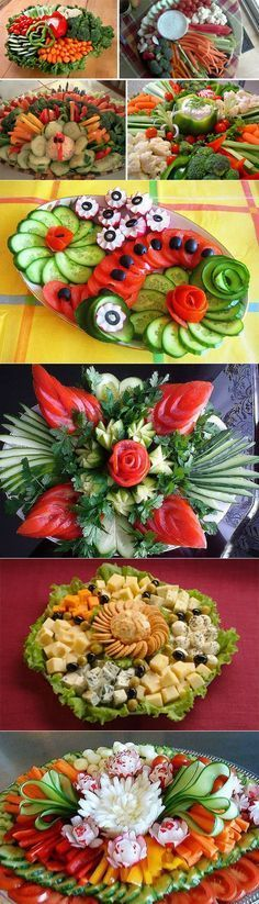 Table decoration - Food Carving Ideas - Food and drink, Veggie Platters, Veggie Tray, Food Platters, Appetizers Table, Appetizers For Party, Food Design, Food Carving, Food Garnishes, Garnishing