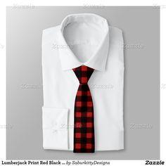 Lumberjack Print Red and Black Winter Buffalo Plaid Tie