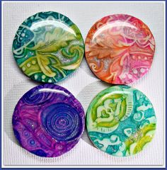 polymer clay Cabochon Pendants made from my Tutorial