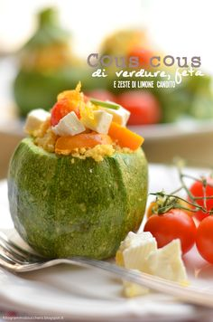 Fotogrammi di zucchero: Cous cous di verdure, feta e zeste di limone candito