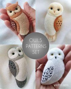 Felt Animal Patterns, Felt Crafts Patterns, Owl Patterns, Fabric Crafts, Sewing Crafts, Felt Patterns Free, Free Pattern, Felt Owl Pattern, Felt Ornaments Patterns