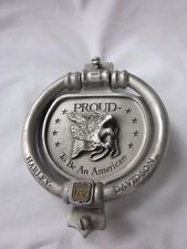 "HARLEY-DAVIDSON 1992 small Pewter Door Knocker ""Proud to be an American"" USA"