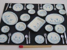 Miniature Dollhouse 8 Pc Dish Towel Set Blue w// Dots