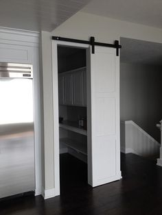 Barn doors are super versatile - here is one used for a pantry door.  It is perfect because no space is wasted and it looks stunning, too!
