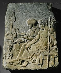 HELLENISTIC STELE, ALL 5TH BCE Asklepios and his daughter Hygieia feeding a snake. Funerary relief, marble from the Therme of Salonika. Classical, last quarter 5th BCE Inv. 109 T Archaeological Museum, Istanbul, Turkey