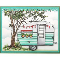 Stampendous Tiny Trailer Stamp Handmade card by Kristine Reynolds
