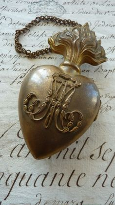 Delicious French ormolu flaming sacred heart box reliquary ex-voto