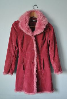 Fuchsia Pink Faux Fur Coat // Space Grunge Coat // by GOONHOUSE