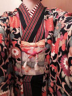 womens kimono haori front view obi detail