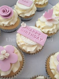 Vintage pink flowers on these birthday cupcakes.