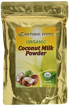Z Natural Foods Coconut Milk Powder, USDA Certified Organic, 1 lb. -- Special product just for you. Coconut Milk Powder, Organic Coconut Milk, Coconut Flour, Gourmet Recipes, Snack Recipes, Chocolate Almond Bark, Dairy Free Alternatives, Sugar Free Diet, Powdered Milk