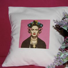 Frida Kahlo at Stylist - Handmade Pillow - Color on Linen Cotton White by ZazouStyle on Etsy