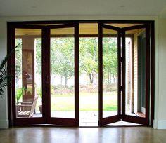 Folding door with pocket sliding screen door by H. Hirschmann LTD, Vermont, USA   Hirschmann windows and doors