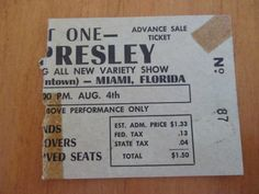 Ticket stub from Elvis show at Olympia Theater, downtown Miami, FL on August 4, 1956.  Can you believe what the ticket price was?