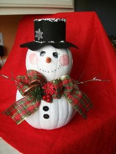 Plaid Community - Featured Project - Christmas Pumpkin Snowie-Holiday Repurpose this porch pumpkins! Pumpkin Snowmen, Christmas Pumpkins, Christmas Porch, Outdoor Christmas, Christmas Snowman, Christmas Holidays, Christmas Ornaments, Christmas Ideas, Mini Pumpkins