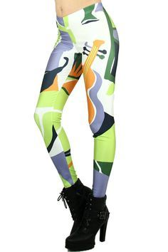 7beef248a6fdf8 Bring on the bold with our Musical Lime Leggings. This fun colorful design  features a