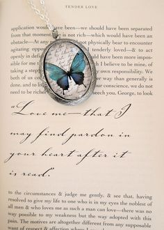Ocean Blue Butterfly Vintage Style Locket with ORIGINAL Artwork...I know my birthday isn't for a while yet but this is not expensive & I would love it... So pretty.