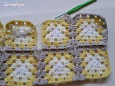 ELİMDEN GELENLER: İplik Koparmadan Motif Birleştirme Crochet Motifs, Crochet Squares, Crochet Granny, Motifs Granny Square, Granny Square Tutorial, Confection Au Crochet, Toddler Quilt, Crochet Coat, Cover Style