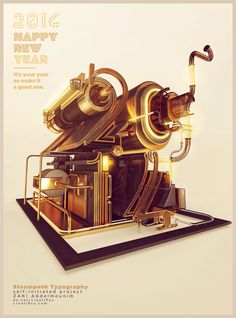 2014 Steampunk Poster - Typography on Creattica: Your source for design inspiration Typography Poster, Typography Design, Lettering, Creative Sketches, Creative Design, Zeppelin, Steampunk, 3d Type, 3d Artwork