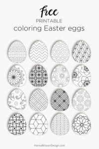 Coloring Easter eggs to decorate with for the Easter weekend - print, color, cut out and hang as decoration.