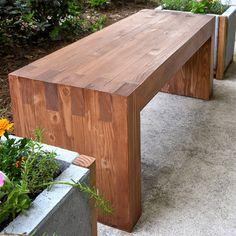 pine plank garden bench