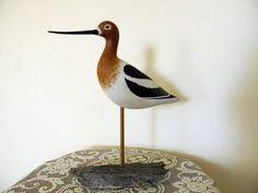 Original Hand Carved Avocet Shorebird by RockySpringsVintage, $179.00