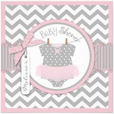 Pink Tutu And Chevron Print Baby Shower Invitation | Sweet Pink Girl Baby  Shower Invitations