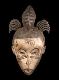 Africa | Face mask from the Igbo from the north or the Idoma people of Nigeria | ca. 20th century | Wood, pigments and vegetal fiber