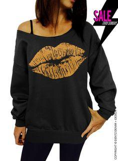 "Use coupon code ""pinterest"" Lipstick Kiss - Valentine's Day - Black with Gold Slouchy Oversized Sweatshirt by DentzDenim"