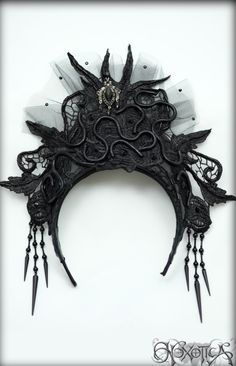 Black Lace Snake Goddess Headdress / Coronet ♥