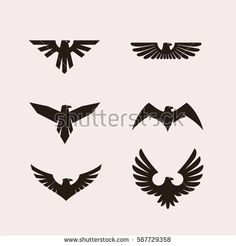 Heraldic symbols with eagle silhouettes. Vector eagle emblems or eagle logos set for company logo or brand logotype with eagle bird. Vector illustration.