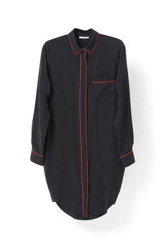 Grace Silk Shirt Dress, Black
