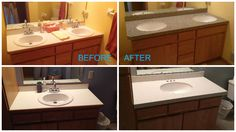 Our team at Trend-Transformations.com did a fantastic job updating these vanities with undermount Kohler sinks and engineered stone (Quartz) for maintenance-free use.