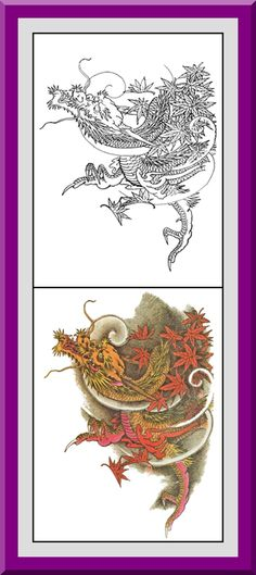 Coloring Pages With Examples. Dragons Coloring Book  30 Printable Pages Outlines Color Examples Instant Download Dragon art and