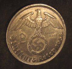 WW2 German 1938 B 2 Mark Third Reich Reichsmark Silver Coin Germany Antique Old