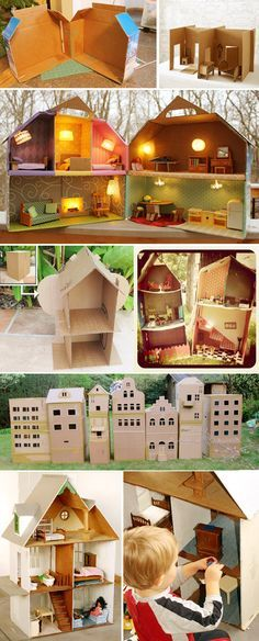 Cardboard dollhouses are easier to make and keep. Cardboard Dollhouse, Cardboard Box Crafts, Dollhouse Dolls, Dollhouse Miniatures, Art And Hobby, Toy House, Cool Diy Projects, Diy Toys, Dollhouse Furniture