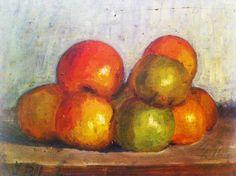 """Francesco Pilla """"Mele sul tavolo"""" - study for a still life. Oil on wood tablet 1923"""