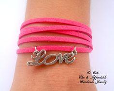 Love Bracelet,  Bracelet, Friendship Bracelet, Leather Bracelet, Charm bracelt, Multistrand Bracelet, You Chose Color. €5.00, via Etsy.