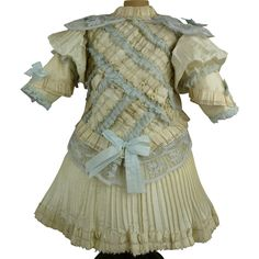 Striking French ivory silk couturier dress suited for Jumeau, Bru, Steiner, Gaultier or other French Bébé